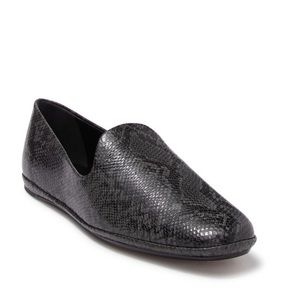 Vince Paz Snakeskin Embossed Leather Loafer Black